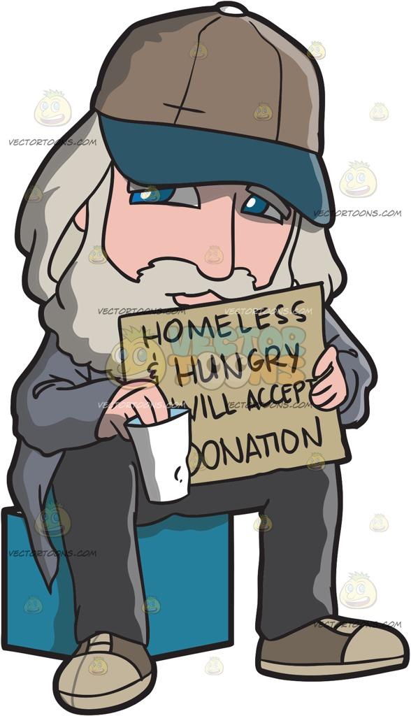 homeless man Cartoon Clipart.