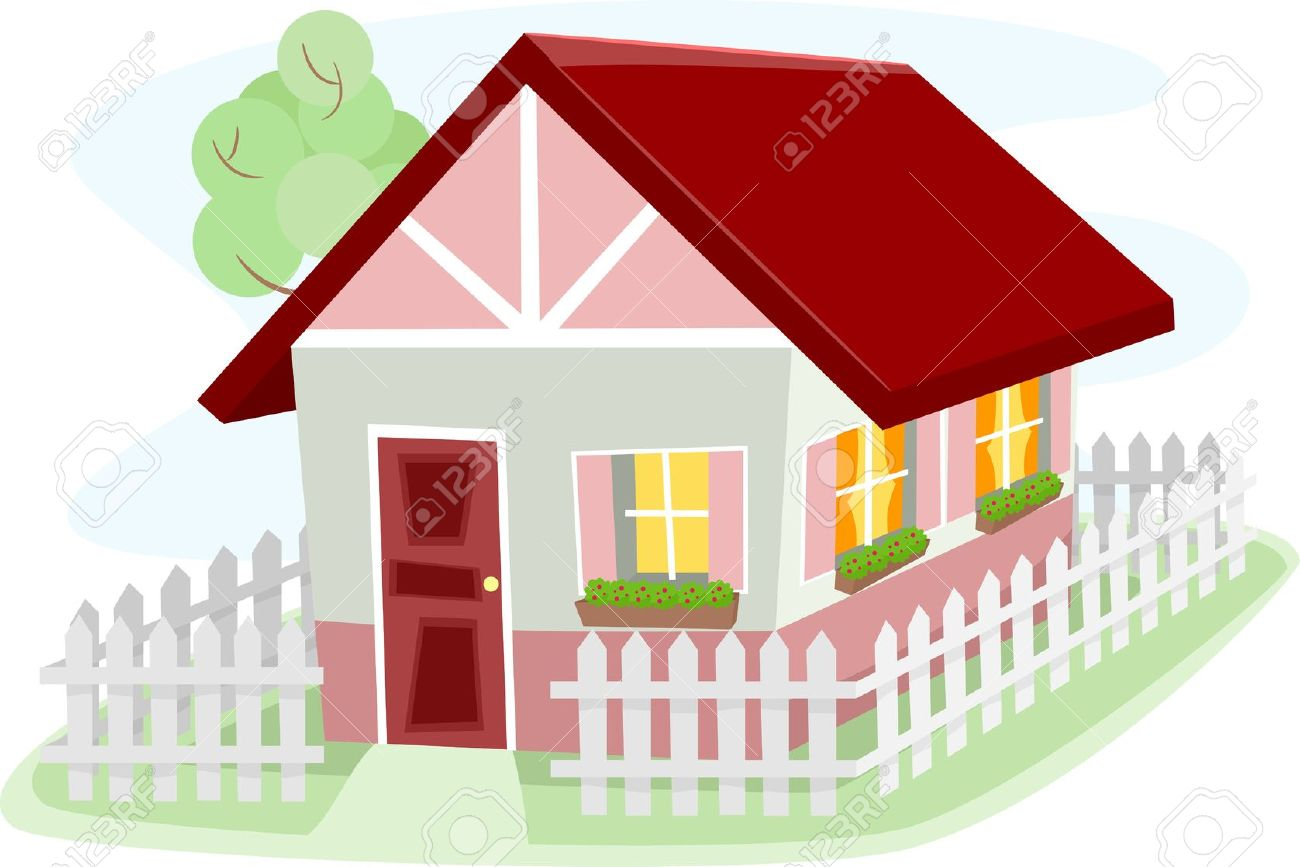 Illustration Of A Homely Bungalow Surrounded By A Wooden Fence.