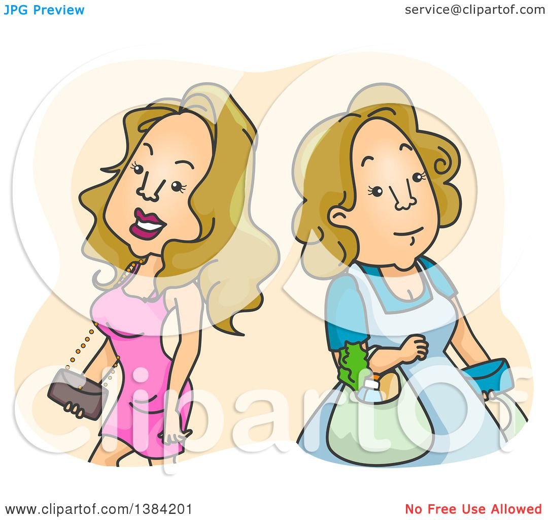 Clipart of Blond White Women Shown As Fashionable and Sexy and.