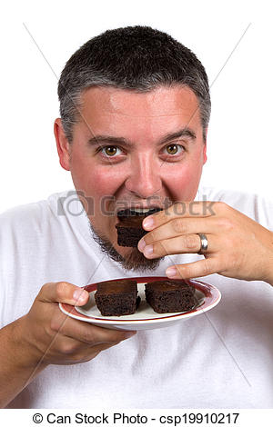 Stock Photography of Eating Homemade Brownies.