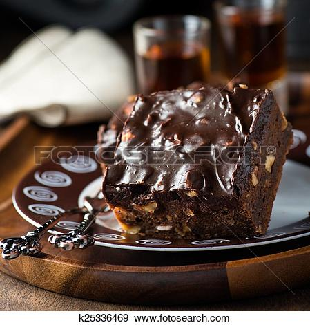 Stock Photograph of Homemade chocolate brownies with nuts and.