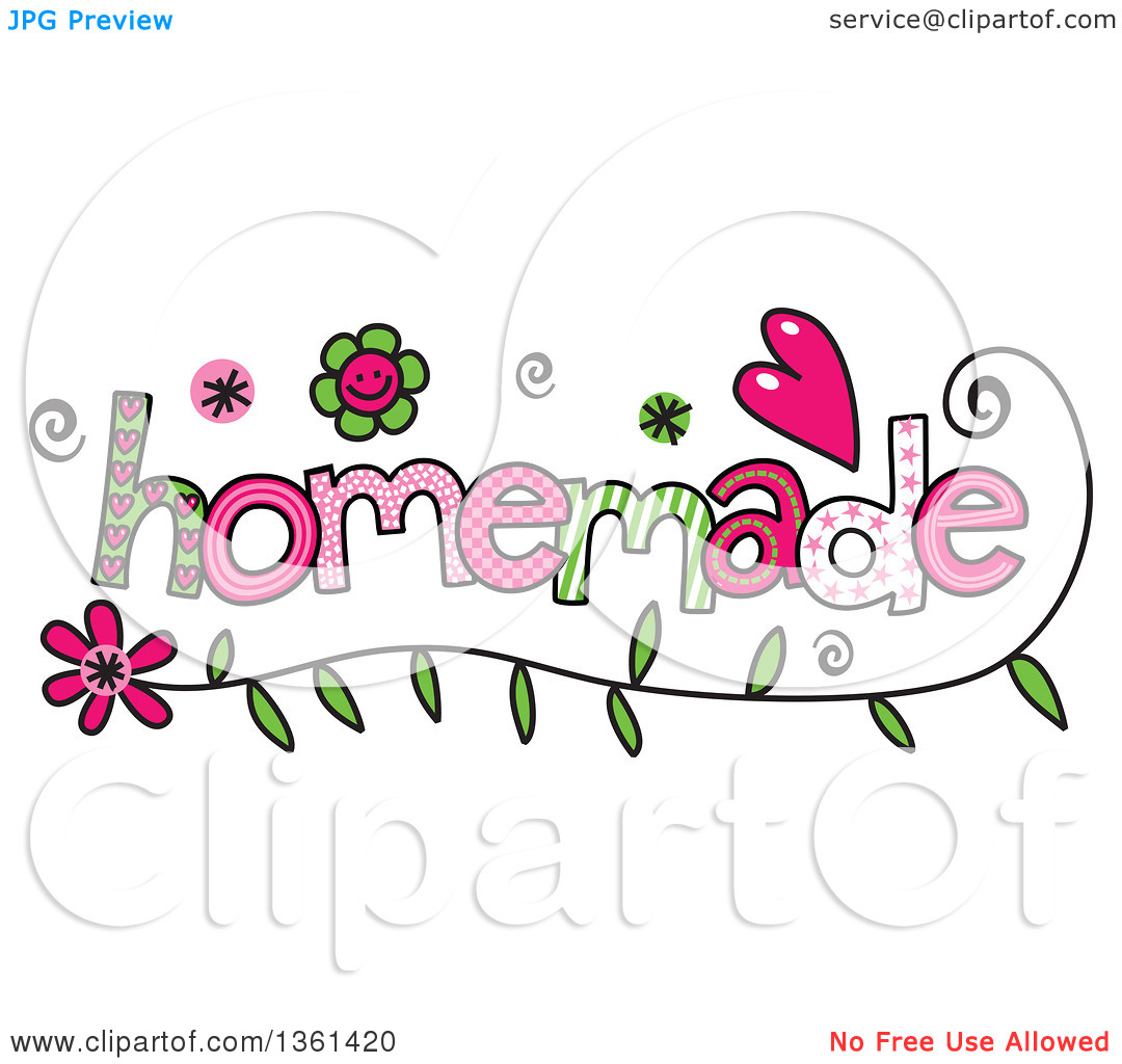 Clipart of Colorful Sketched Homemade Word Art.