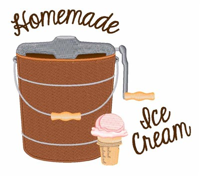 Homemade Ice Cream Embroidery Design.