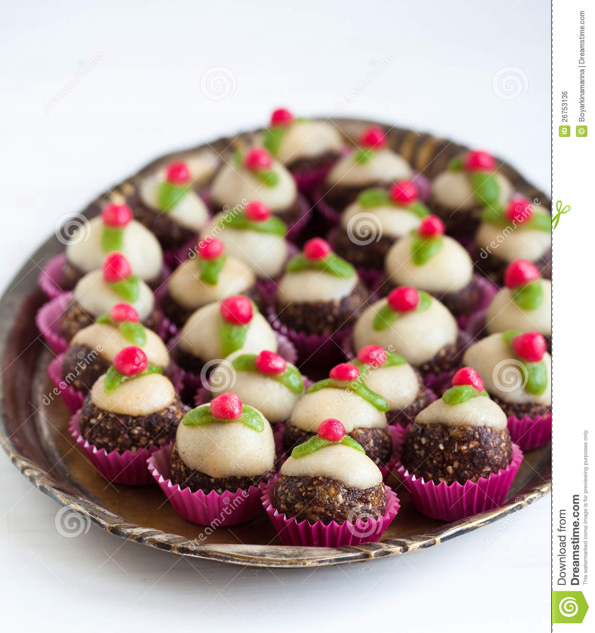 Homemade Sweets With Marzipan Royalty Free Stock Image.