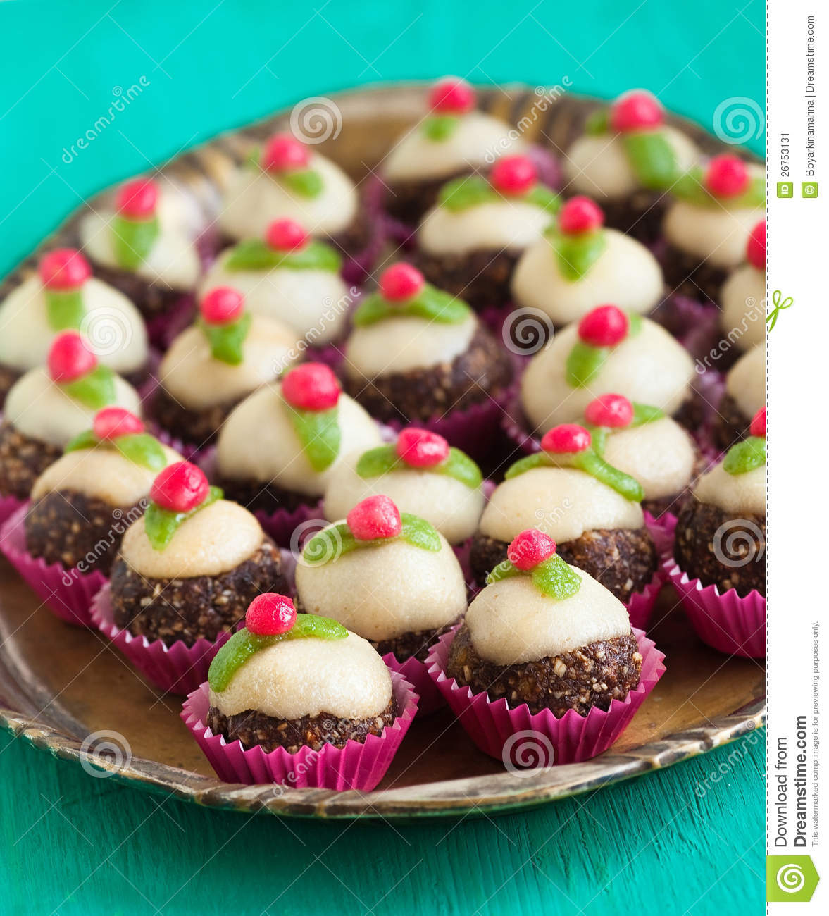 Homemade Sweets With Marzipan Stock Image.