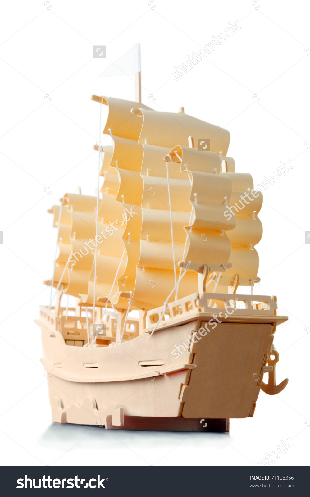 Homemade Wooden Ship With Paper Sails And Flag, View From Stern.