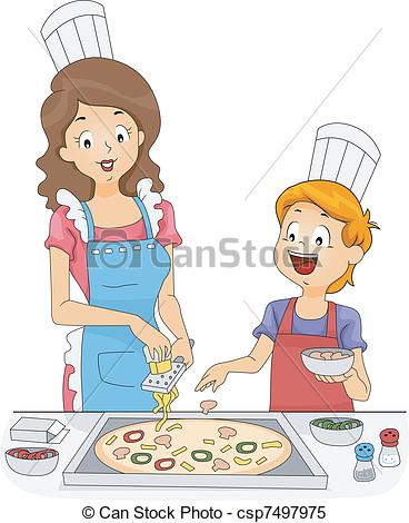 Clipart Vector of Homemade Pizza.