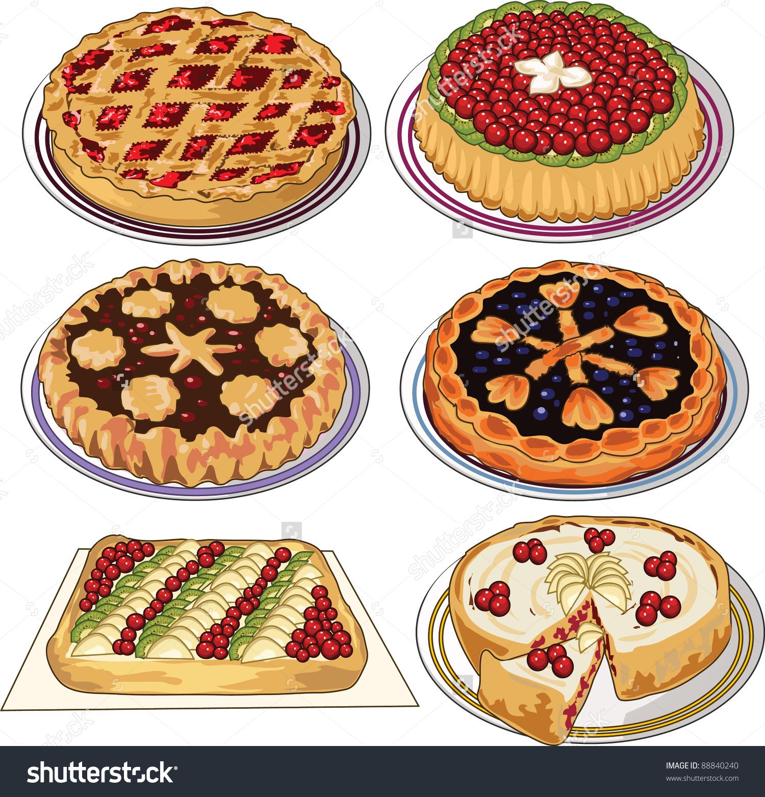 Clip Art Set Homemade Pies Stock Vector 88840240.