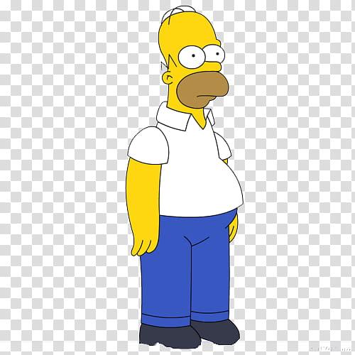 Los Simpsons texto P, standing Homer Simpson transparent.