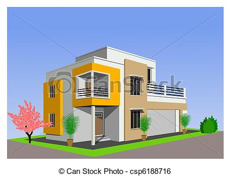 Stock Illustration of modern home architecture against bl.
