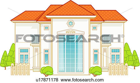 Stock Illustration of dwelling, family, architecture, construction.