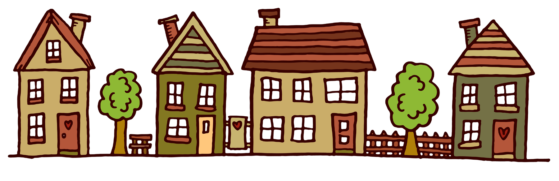 Clip Art Of Homes In A Row Clipart.