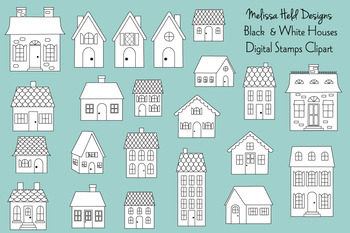 Black & White House Digital Stamps Clipart.