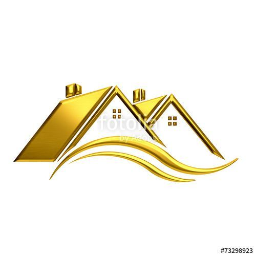 Golden houses real estate image.\
