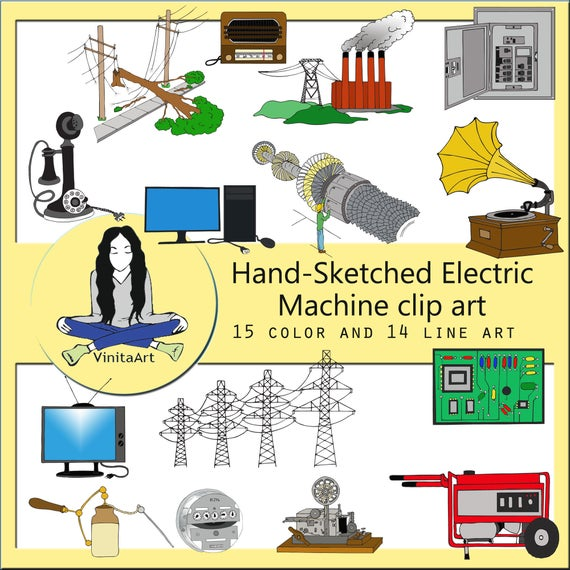 Machine clip art, downloadable files, homeschool, turbine, phonograph,  telephone, power plant, computer, television, generator Clipart.