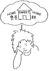 Homesick college student clipart.