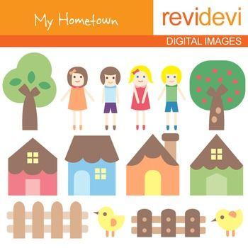Clip art My Hometown (kids, houses, trees) clipart for teachers.