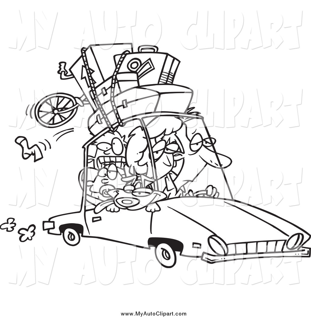 Clip Art of a Black and White Tired Family Homeward Bound from a.