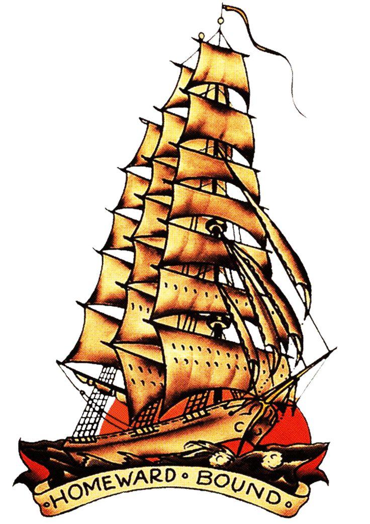 Sailor Jerry, Vintage Tattoo, Designs, Homeward bound, Sailing.