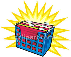 A Group of File Folders In a Basket Royalty Free Clipart Picture.