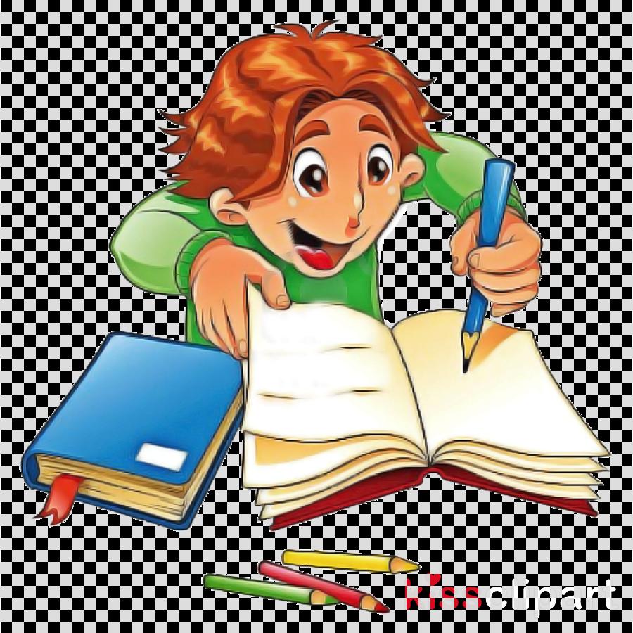 cartoon clip art learning reading homework clipart.