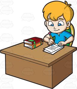 Free Clipart Of Child Doing Homework.