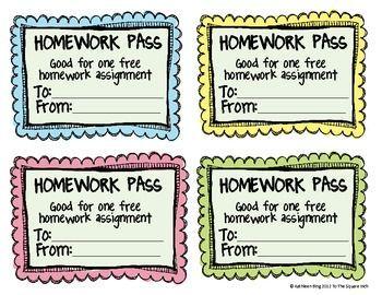Free* No Homework and Late Homework Passes.