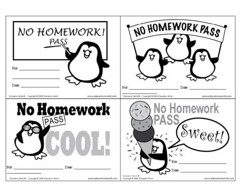 No Homework Pass Template.