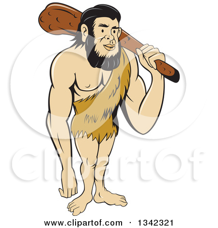Clipart of a Sketched or Engraved Neanderthal Man with a Spear.
