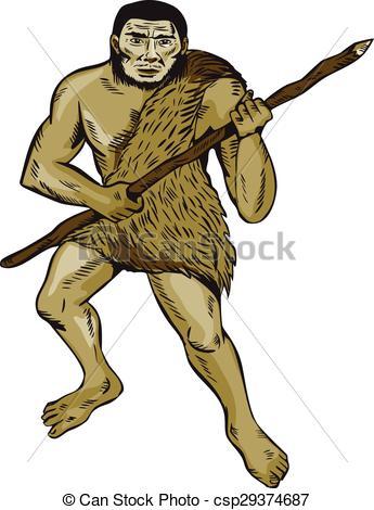 Homo sapiens neanderthalensis Vector Clipart Illustrations. 12.