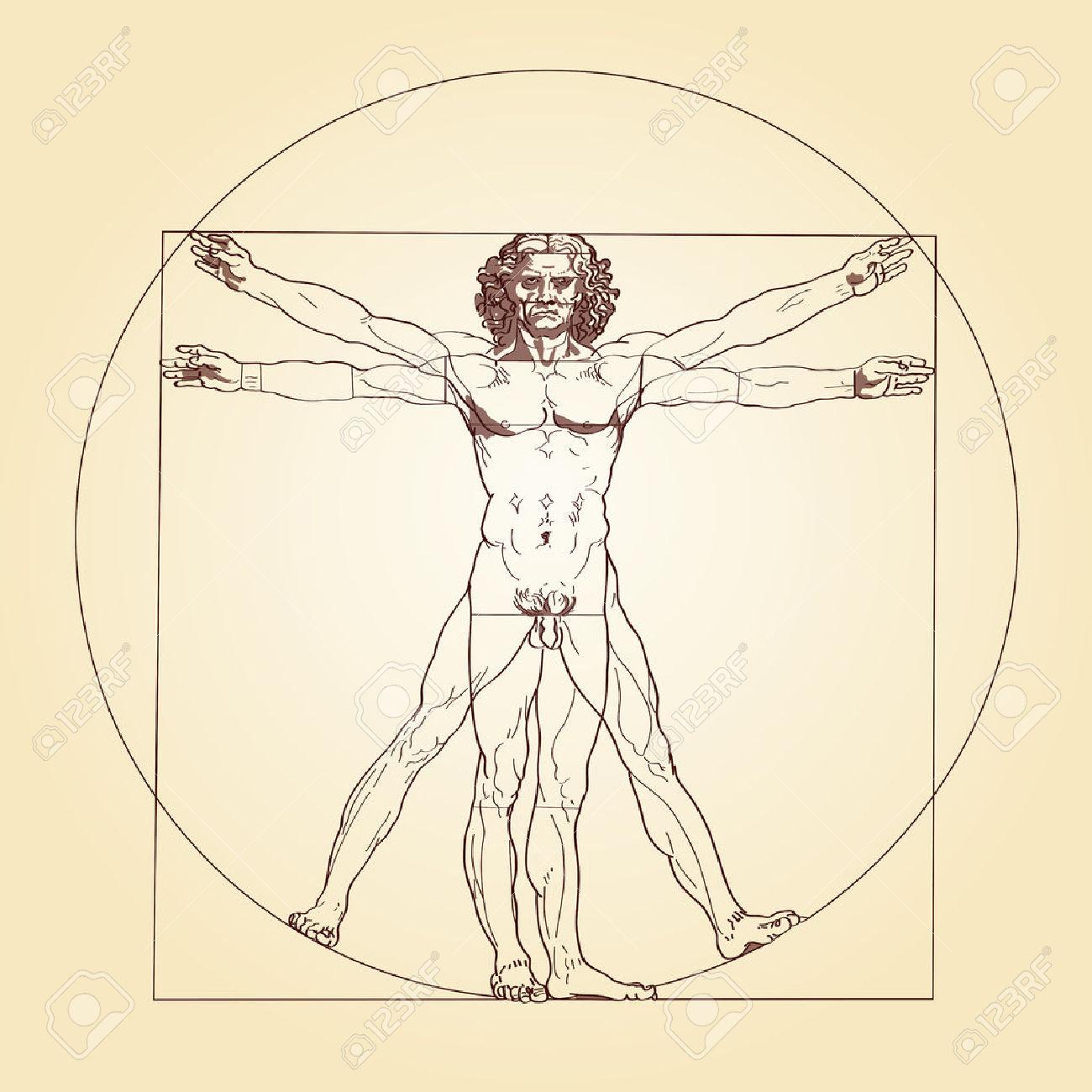 Illustrazione Dell'Uomo Vitruviano, Sulla Base Delle Registrazioni.