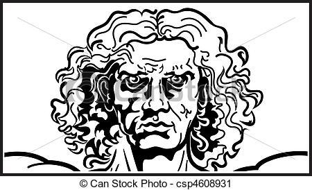 Vector Clip Art of Head of The Vitruvian man.