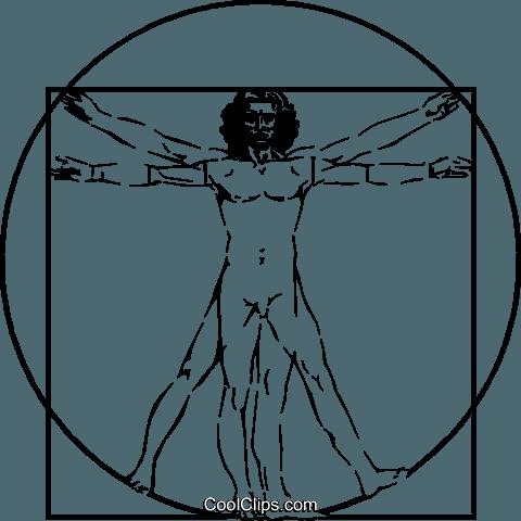 Canone di proporzione Uomo Vitruviano immagini grafiche vettoriali.