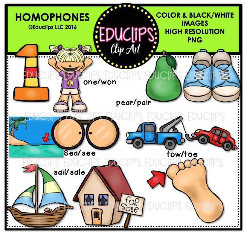 Homophones Clip Art Bundle (Color and B&W).