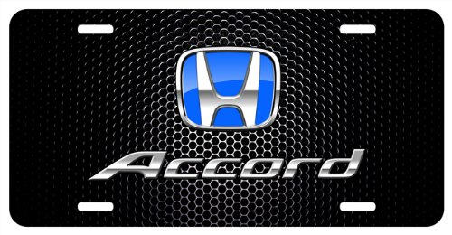 Honda Accord Blue Logo Punch Grille Black Metal License.