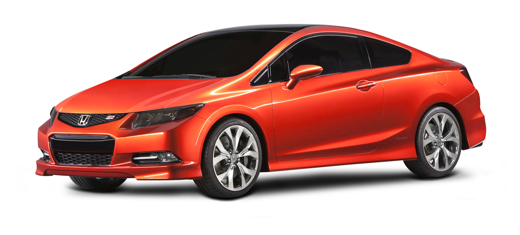 Red Honda Civic Car PNG Image.