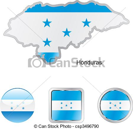 Vector Clipart of flag of honduras in map and web buttons shapes.