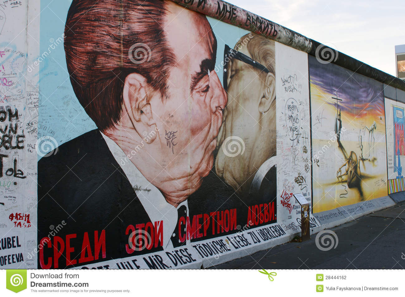 Kiss Of Honecker And Brezhnev On Berlin Wall Editorial Stock Image.