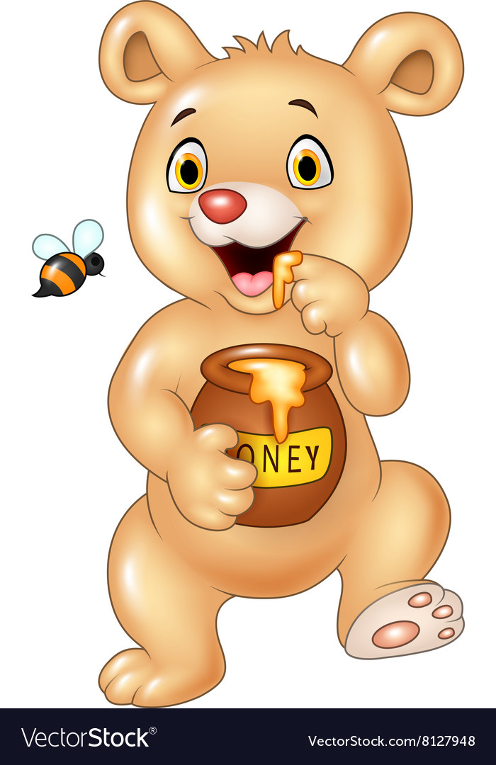 Cute baby bear holding honey pot isolated.