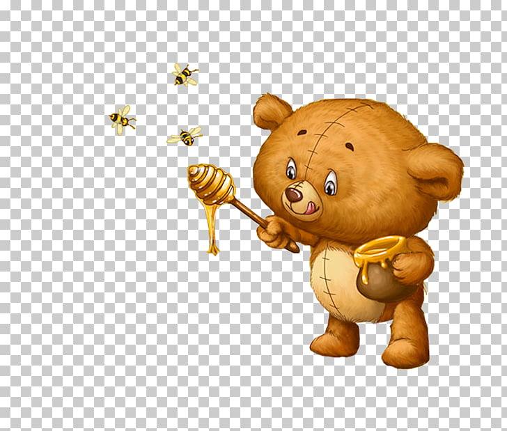 Brown bear Honey , bear PNG clipart.