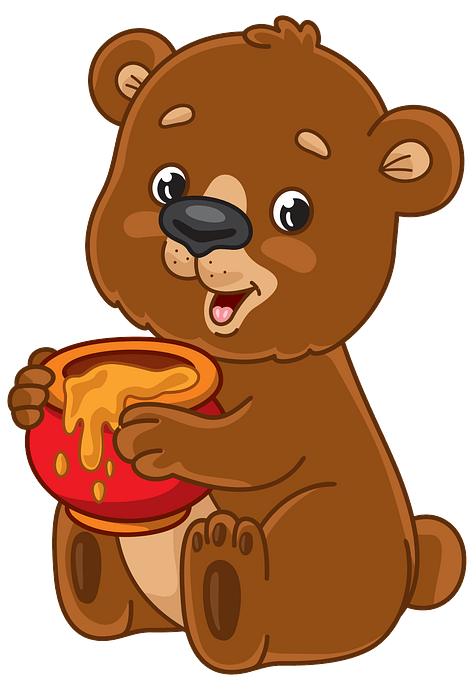 Cartoon bear with honey pot clipart. Free download..