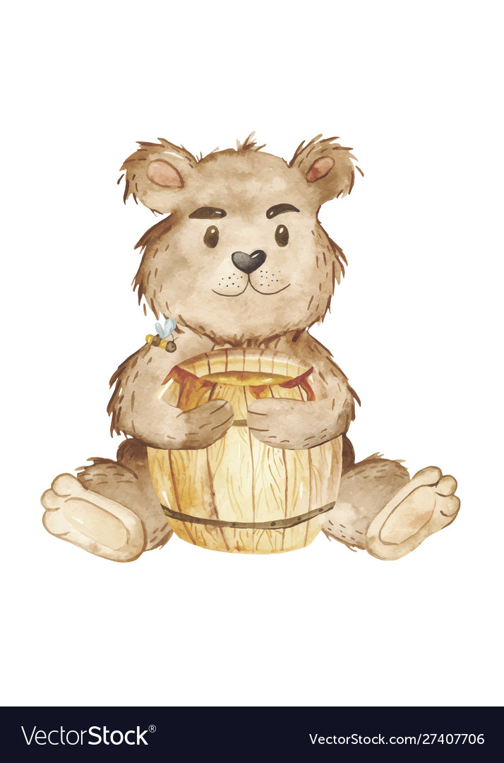 Watercolor bear and keg honey clipart.