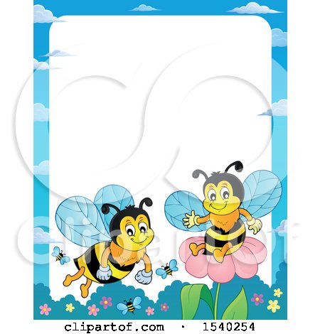 Clipart of a Border with Honey Bees.