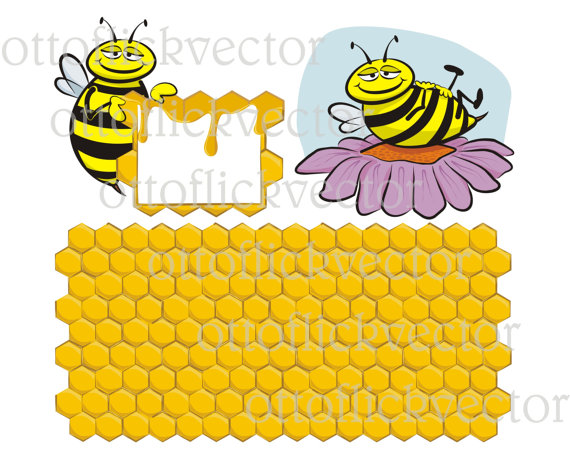 BEE HONEYCOMB VECTOR clipart and background eps, ai, cdr, png, jpg.