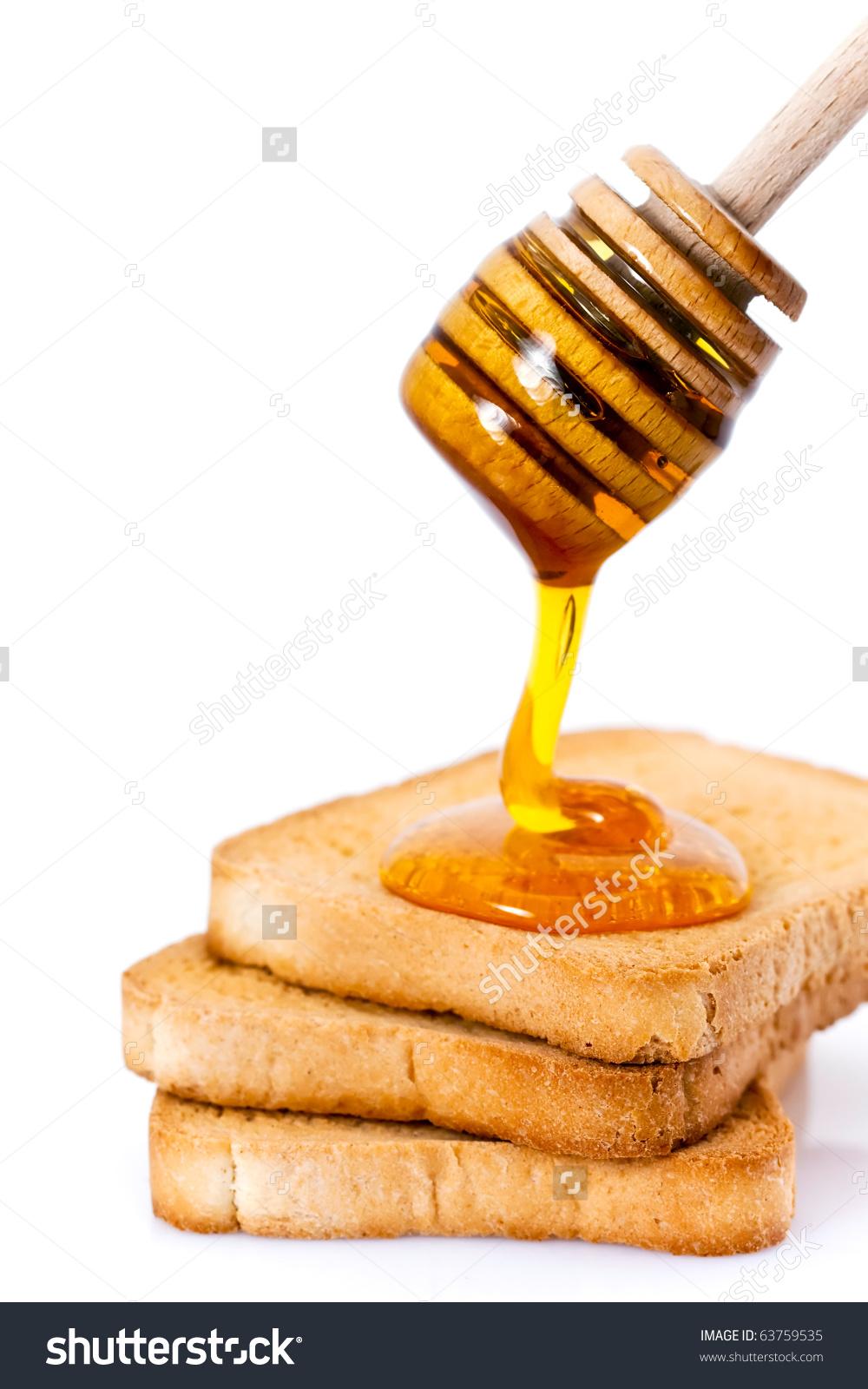 Three Slices Toasted Bread Honey Honey Stock Photo 63759535.