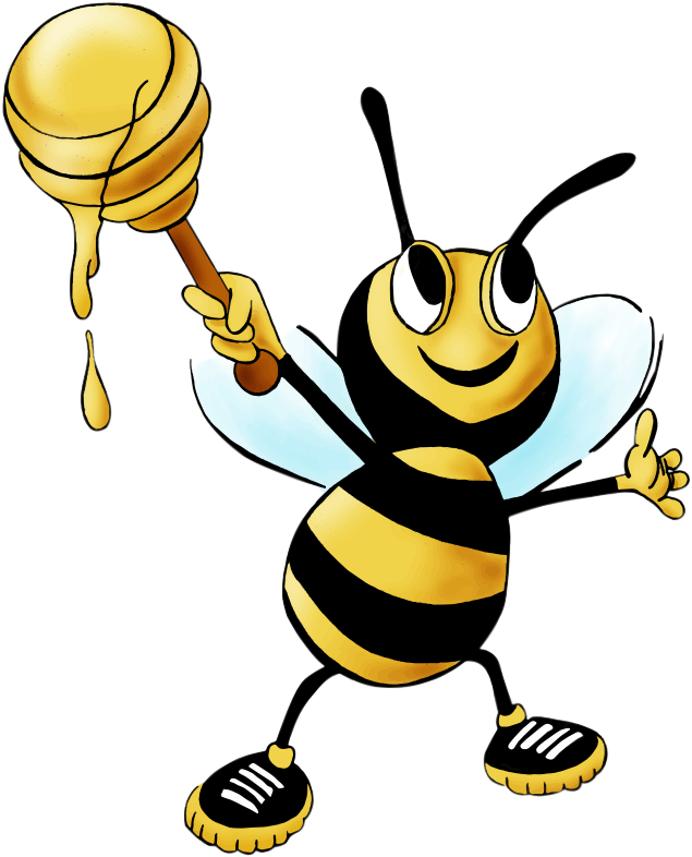 Free Cartoon Honey Bee Clip Art.
