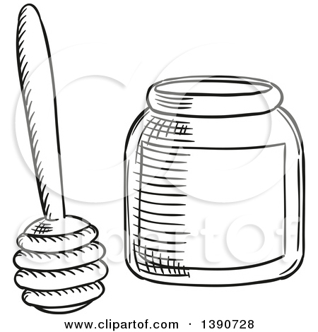 Clipart of a Sketched Honey Dipper.