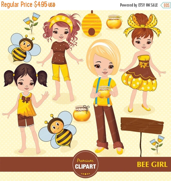 70% OFF SALE Bee girl clipart, honey party clipart, bee clipart.