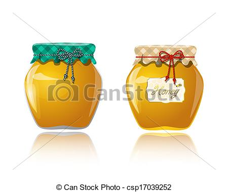 Clipart Vector of Glass jar with honey csp17039252.