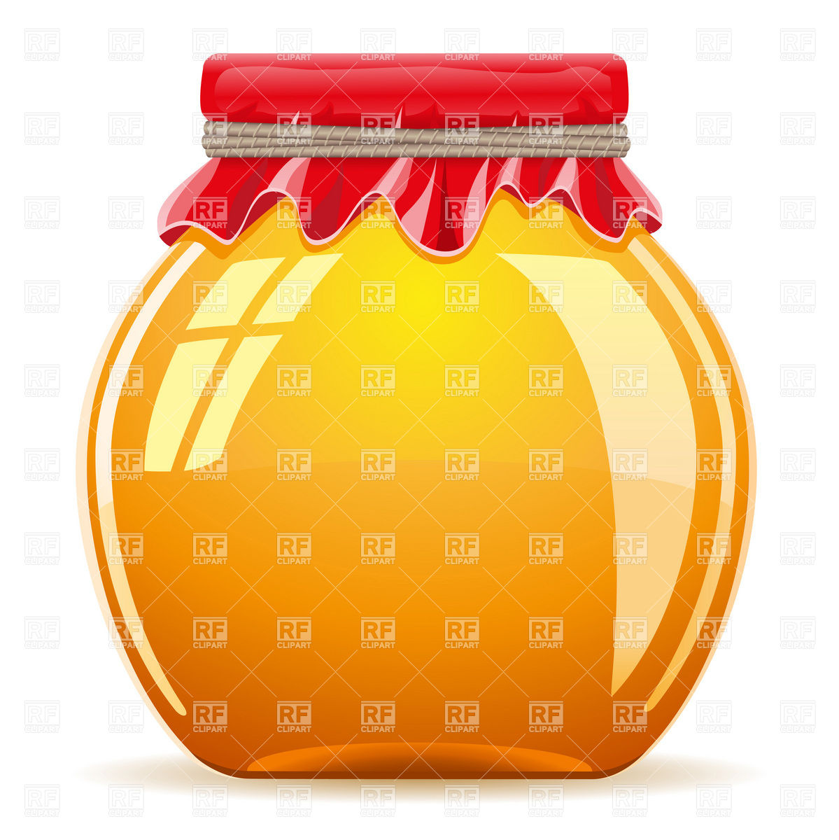 Glass honey pot with red cover Vector Image #19419.